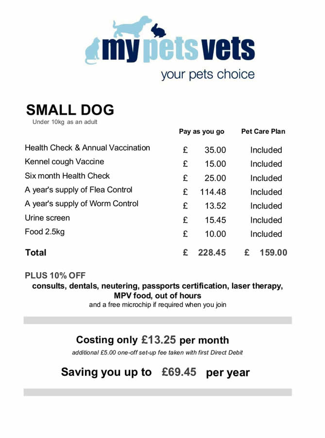 pet care plan small dogs My Pets Vet Ltd Leigh