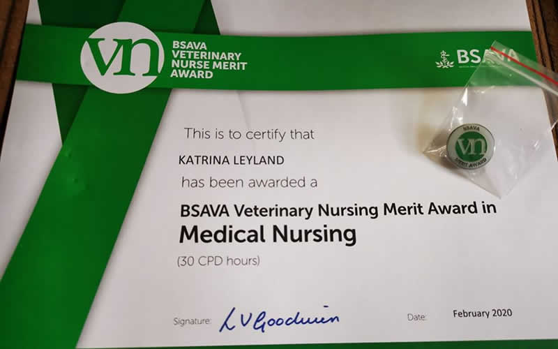 Nurse award at My Pets Vet Leigh